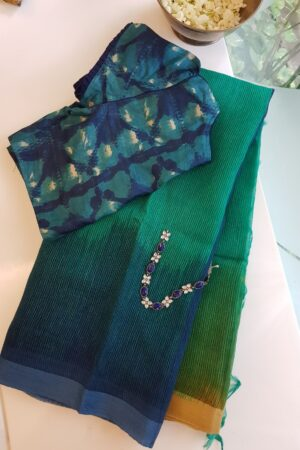 teal green with blue shaded moonga linen saree