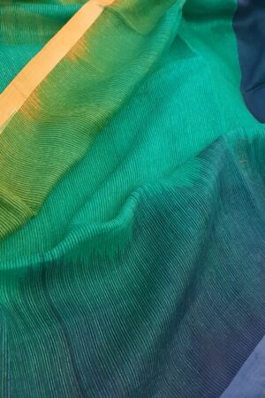 teal green with blue shaded moonga linen saree1