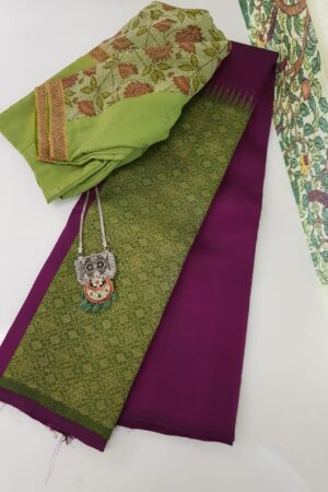 violet and green box pattern kanchi silk saree