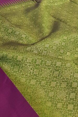 violet and green box pattern kanchi silk saree1