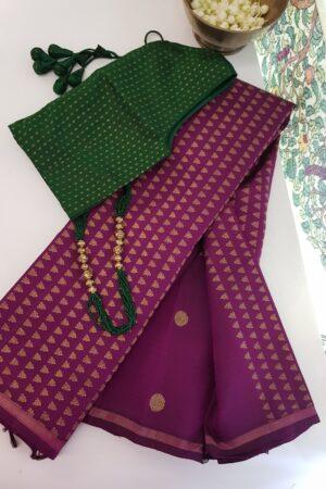 violet kanchipuram silk shoulder saree