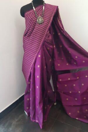 violet kanchipuram silk shoulder saree1