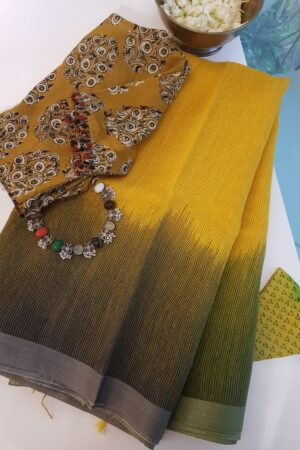 yellow and cow dung gren moonga linen saree