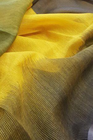 yellow and cow dung gren moonga linen saree1