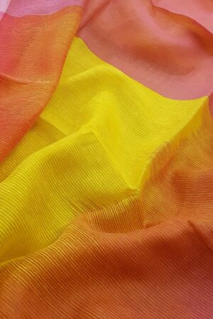 yellow and orange moonga shaded linen saree1