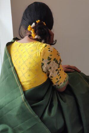 yellow floral prakruthi blouse