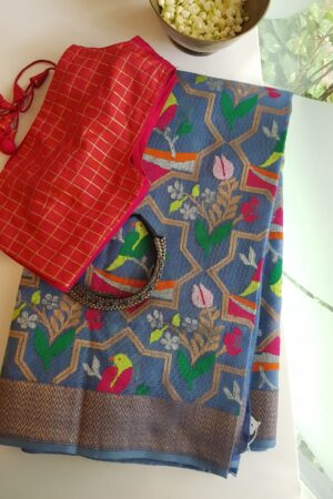 Blue kota saree with meena work