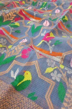 Blue kota saree with meena work1