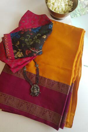 Yellow chiffon saree with kanchi cotton border1