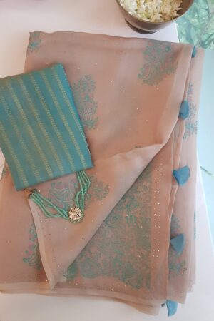 beige organza saree with block print and mukaish work1