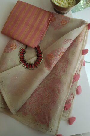 beige organza saree with peach and mukaish work5