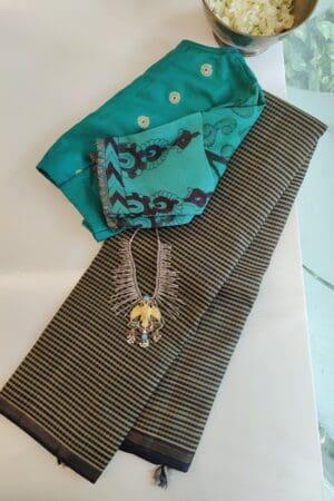 black and beige checks with black silk pallu