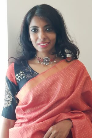 black and beige with orange tussar blouse