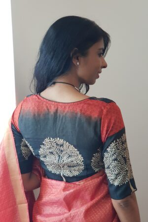 black and beige with orange tussar blouse1