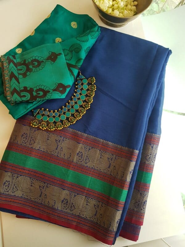 blue chiffon saree1