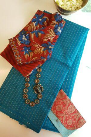 blue tussar saree