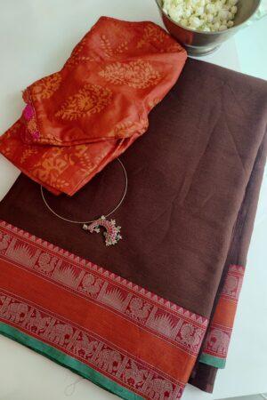 brown chiffon saree with kanchi cotton border