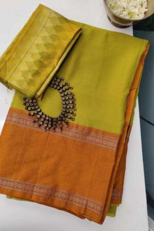 chatreuse green chiffon saree with mustard kanchi cotton border