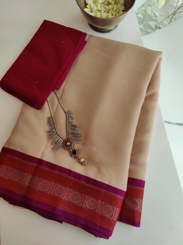 cream chiffon saree with majenta border1