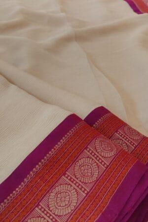 cream chiffon saree with majenta border2
