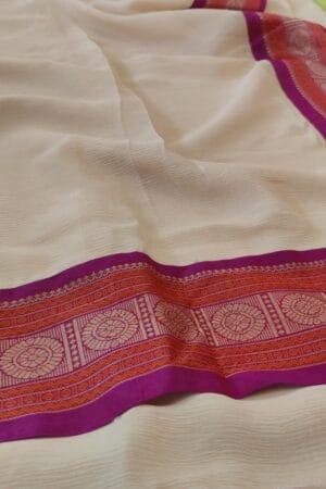 cream chiffon saree with majenta border3