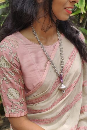dusty pink emb blouse