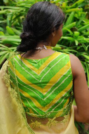 green and yellow tussar leheriya