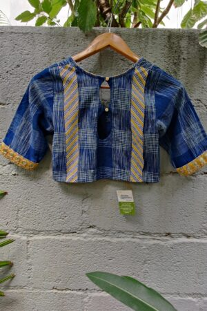 ikat blue with mustard trims blouse