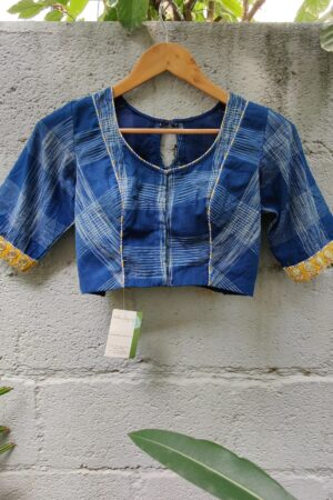 ikat blue with mustard trims blouse1