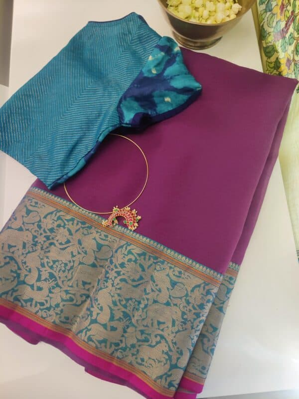 mauve kanchi cotton saree with vanasingaaram border