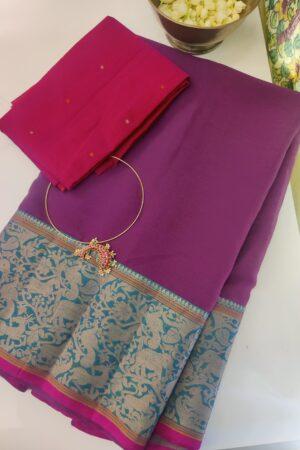 mauve kanchi cotton saree with vanasingaaram border1