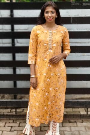 mustard top with ikat bottom