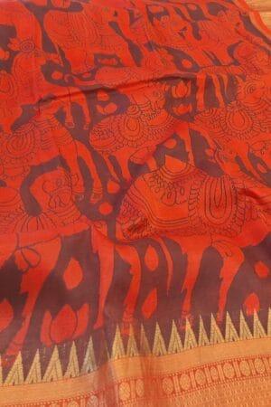 orange kalamakri saree1