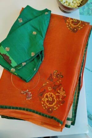 orange organza saree with block print and kutch work3
