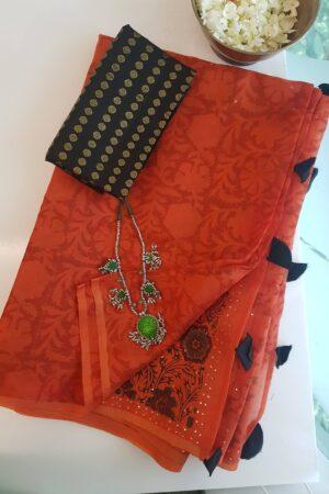 orange organza saree with mukaish work and block prints1