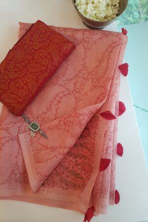 peach saree with block print and dark pink pallu2