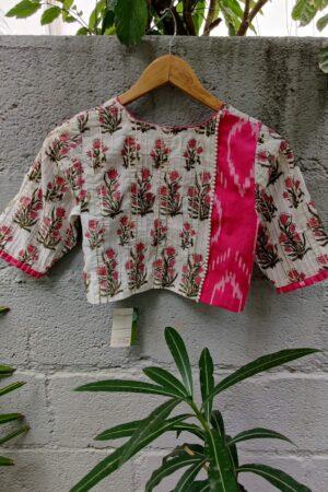 pink gota patti with ikat trimsblouse1