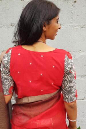 red cotton blouse with grey embroidered sleeves