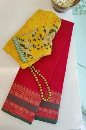 red with rudraksham border kanchi cotton saree