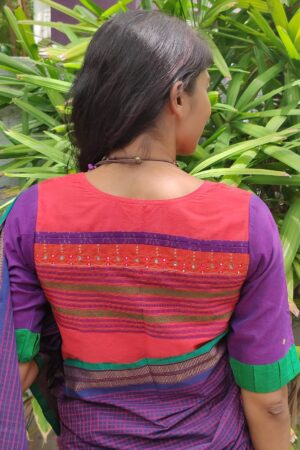 red with violet kanchi cotton blouse