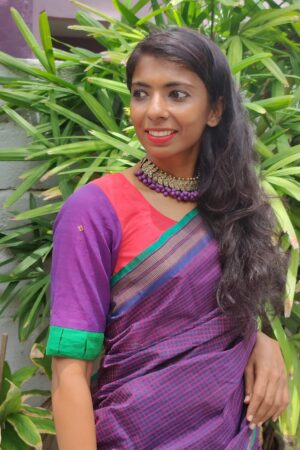 red with violet kanchi cotton blouse1