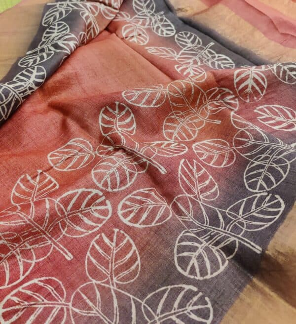 rust shaded tussar saree with prints2