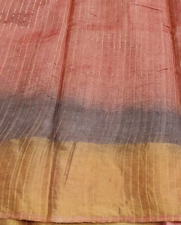 rust shaded tussar saree with prints3