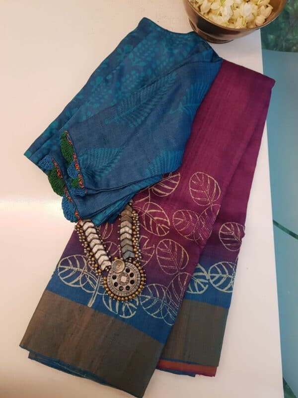 violet shaded tussar saree