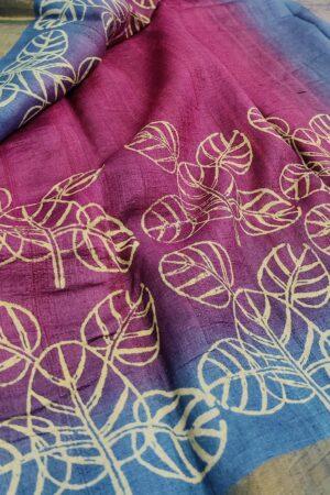 violet shaded tussar saree1