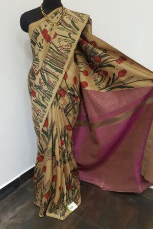 Beige kalamkari saree with mauve blouse1