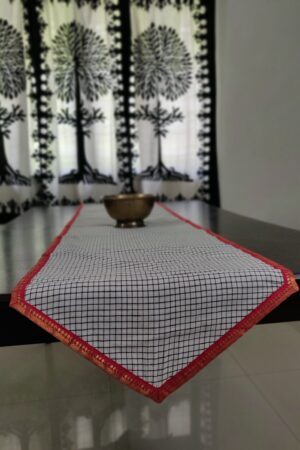 Black and white cotton table runner