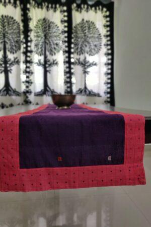 Violet kanchi cotton table runner