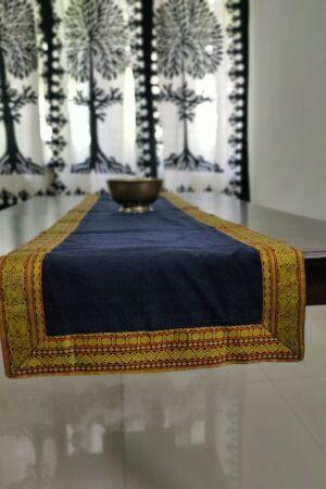 Navy blue kanchi cotton table runner
