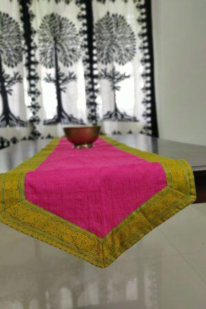 pink kanchi cotton table runner
